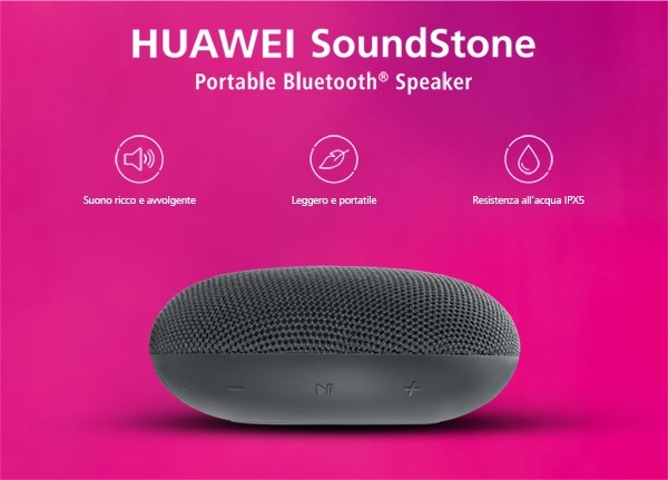 www.scontrinofelice.it img 4641 Acquista Huawei P Smart 2019 e ricevi come premio sicuro SoundStone Portable Bluetooth Speaker e  50€ da spendere su Huawei Video