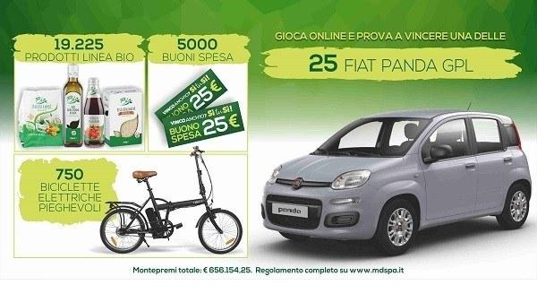 """Concorso MD """"Vinco anch'io? Sì tu sì!"""": fai la spesa e vinci prodotti BIO, bici elettriche, buoni spesa e una Fiat Panda GPL"""