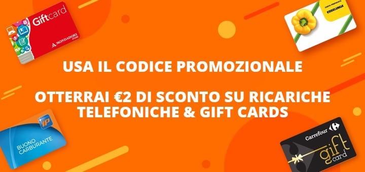 Codice sconto Aliexpress ricariche e gift card