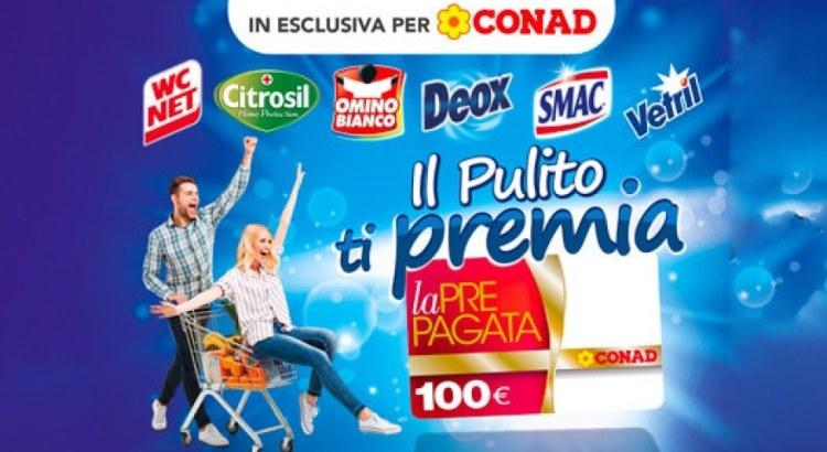 Concorso Il pulito ti premia vinci card spesa Conad da 100 Euro