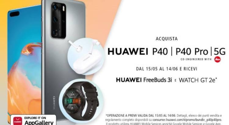 Acquista Huawei P40 P40 Pro e ricevi gratis Freebuds3i e WatchGT2e