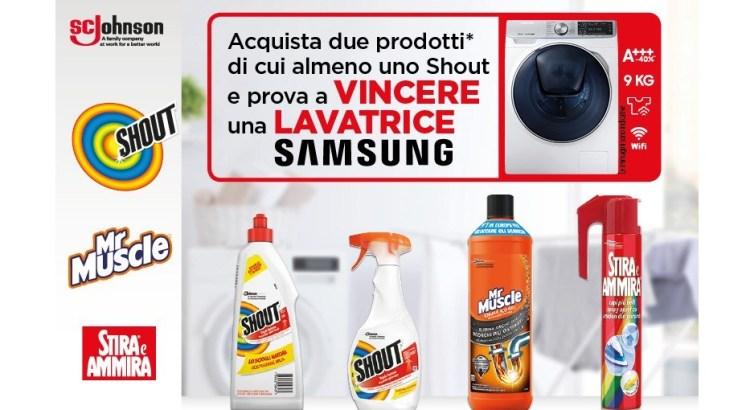 Concorso Shout, Stira e Ammira e Mr Muscle da Acqua e Sapone e La Saponeria vinci lavatrici Samsung QuickDrive