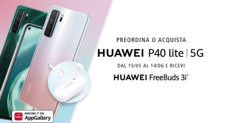 Huawei P40 lite 5G ti regala gli auricolari Freebuds 3i
