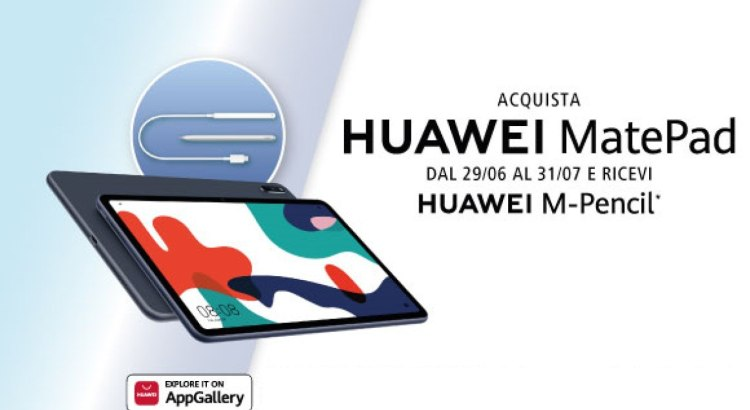 Acquista Huawei MatePad ricevi in regalo Huawei M-Pencil con ricarica Wireless
