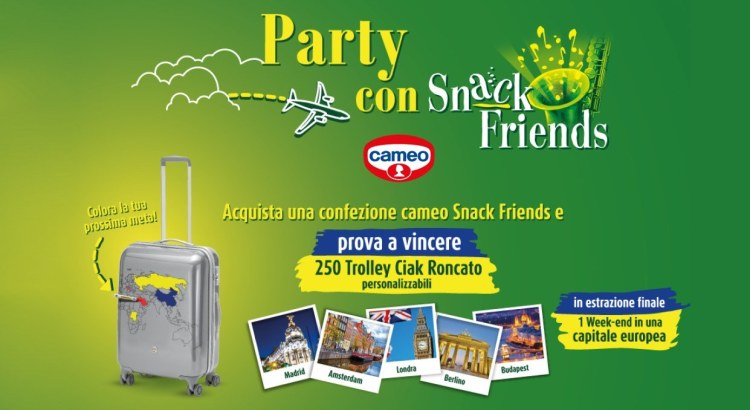 Concorso Cameo Party Snack Friends vinci trolley Roncato