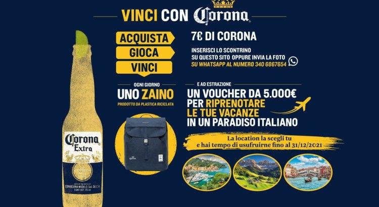Concorso Birra Corona vinci Zaini Lefrik e Voucher viaggio