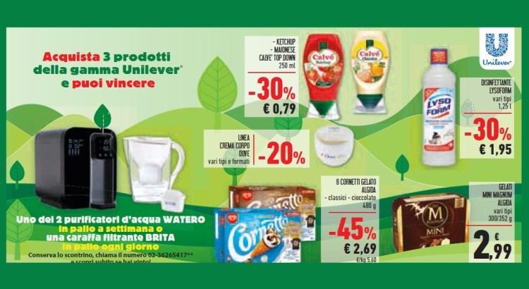 Concorso Unilever da Conad Unes Iper La Grande i vinci Caraffe filtranti Brita e Purificatori acqua Watero