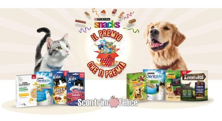 Concorso Purina Il premio che ti premia vinci forniture annuali di snack cane gatto
