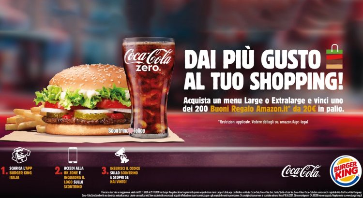 Concorso Coca Cola e Burger King vinci buoni Amazon