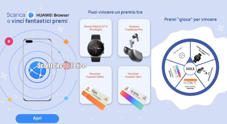 Concorso Huawei Browser Scarica e vinci Lucky draw