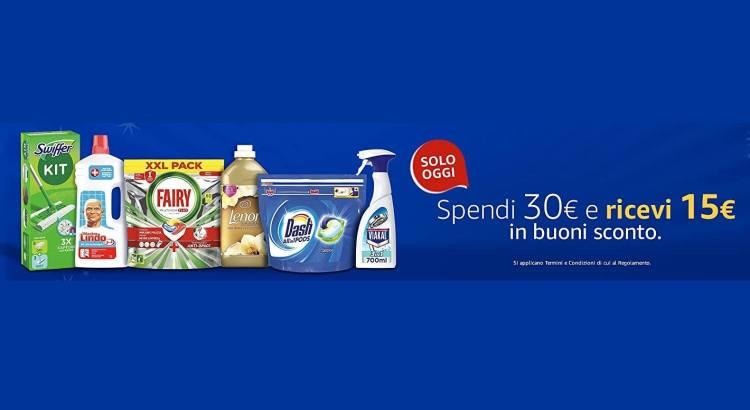 Spendi 30€ in prodotti P&G su Amazon e ricevi 15€