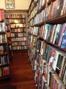 All the books hanging out at the famous City Lights Bookstore. This place is magic.