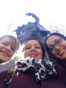An up the nose (and crotch) shot with a statue on the tour. See, inappropriate.