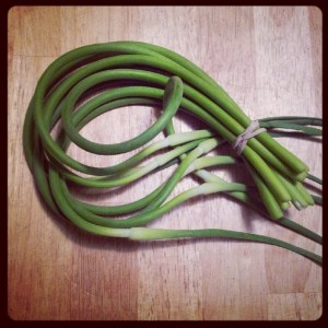 Garlic scapes. If garlic grew in heaven, it would look, and taste, like this.