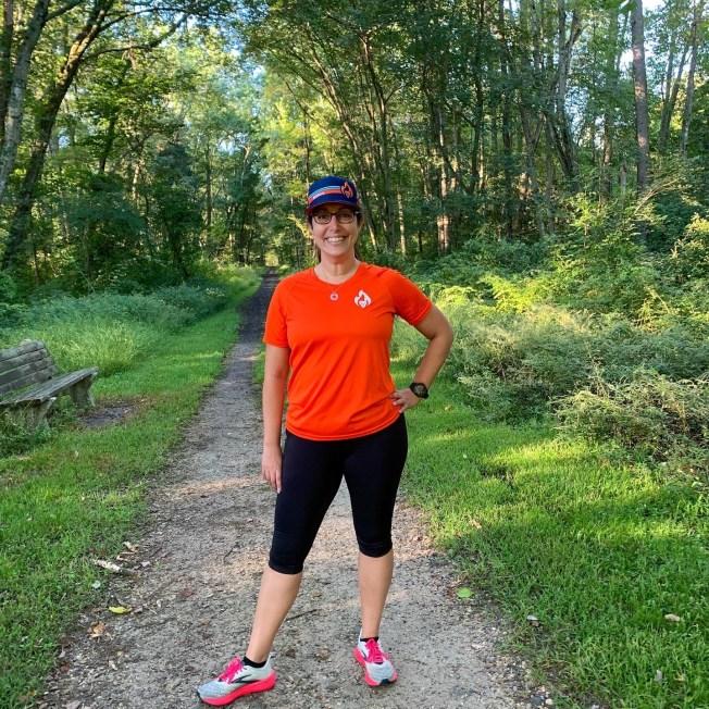 BibRave Pro, Meridith, preparing to run 4 miles at Elephant Swamp Trail.