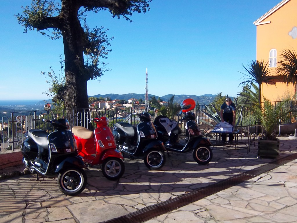 Our scooters on the hotel terrace, ready to begin the tour