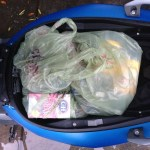 What can you fit in the C 600's smaller underseat storage? About half a cart of groceries.