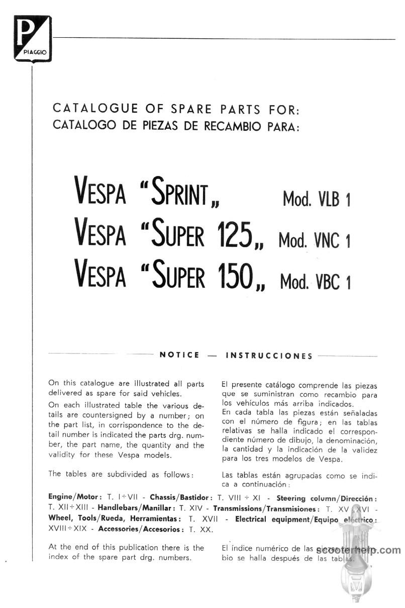 Vespa Spare Parts Catalogue Wiring Diagram Vl1 150 Super Sprint 125 Manual