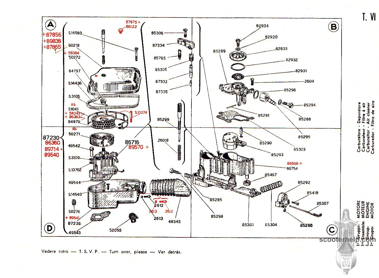 Vespa 125 Vnb2t Parts Book