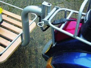 simiiar tow hitch is used on both Ant's Lambretta and Vespa which double up as rear luggage racks when needed.