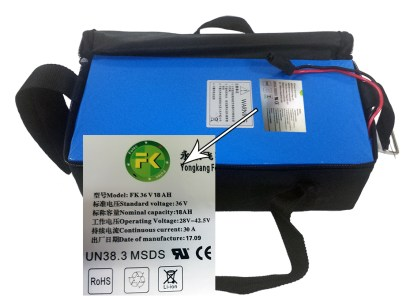 Lithium Battery Pack 36v 18 AH