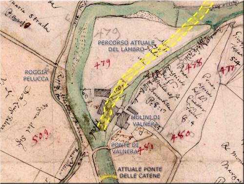 La zona dei mulini di Valnera e le modifiche attuali