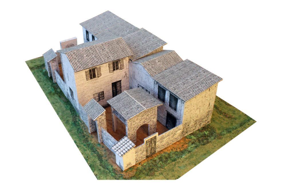 """La corte rustica. Sull'angolo lo """"stallino"""", sul lato est la """"portina"""" per accedere al """"giardino"""""""