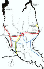 tracciato dei Navigli nel XVIII secolo