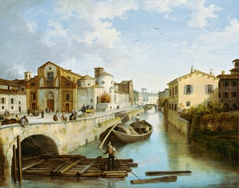 Angelo Inganni, Veduta del Naviglio di S. Marco (1835)