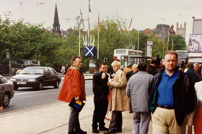 Danny Boyle and Jonny Lee Miller on Princes Street.
