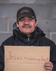 A portrait photograph of a homeless man in Regina, Saskatchewan