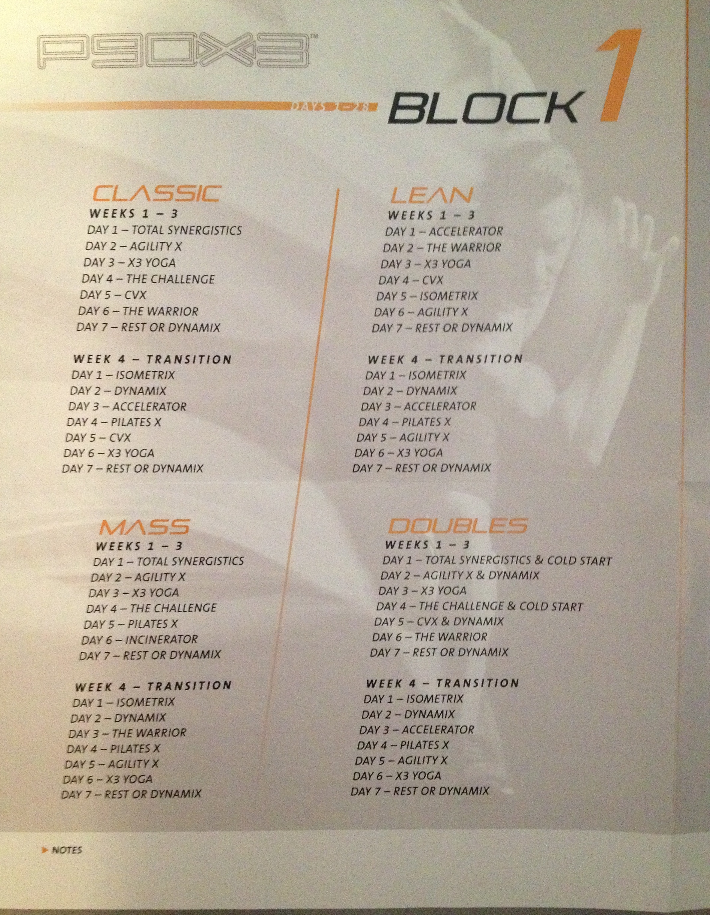 P90x3 Elite Block Workout Calendar Download
