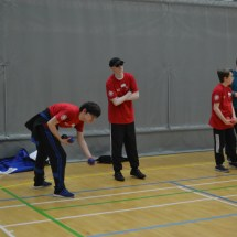 Participants trying boccia throws
