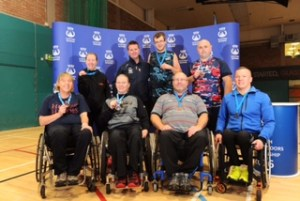 Group photo of competitors Stuart Bowler, James Hamilton, Mark Telford, Dave Rhoney, Pauline Gallagher, Sarah Bailie, Joanna Martin and Coach John Blair