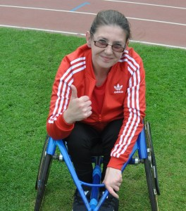 Suzanne McGrath in racing wheelchair