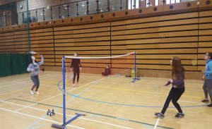 Badminton game underway