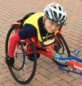 Callum Sloan in racing chair