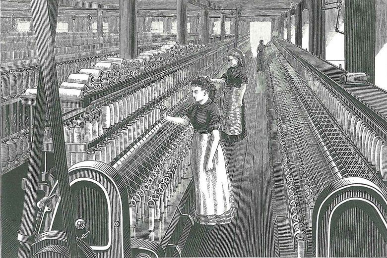 Old illustration of women working with a weaving loom