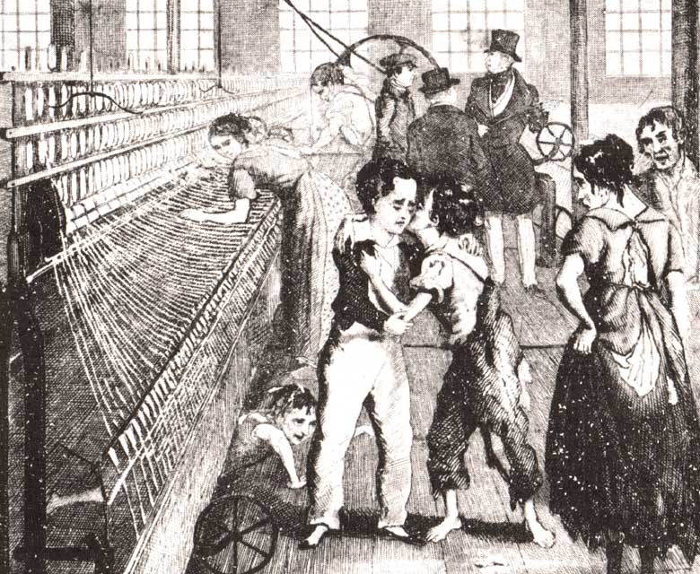 Old graphic illustration of people working with a aweaving loom