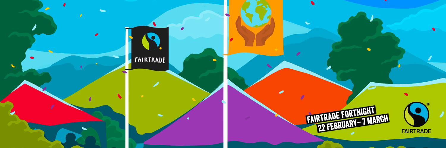 Fairtrade Flag, flag with hands cupping globe against background of mountains