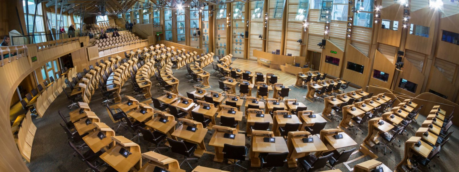 A picture of the interior of the Scottish Parliament