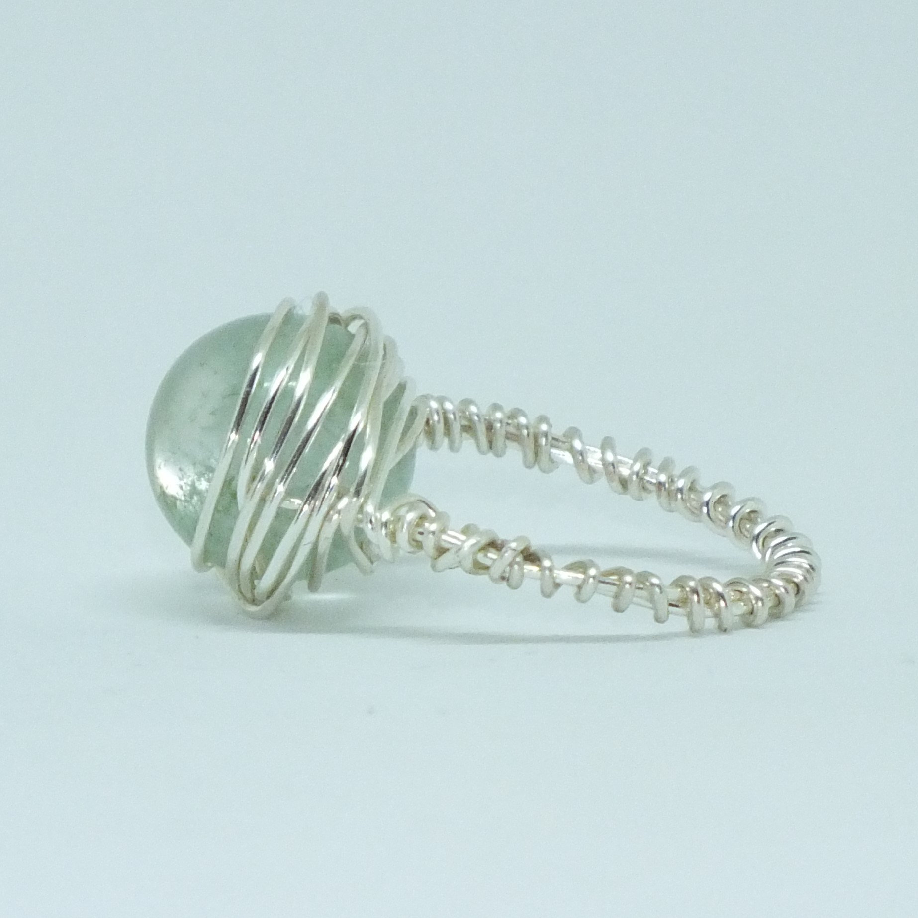 Silver Plated Wire Wrapped Ring With Green Moss Quartz Focal Bead ...