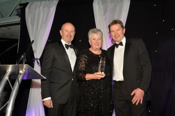 Shirley receiving her Lifetime Achievement Award at the 2016 Scottish Rural Awards from Mike Wijnberg of Scotland's Rural College (pictured right), and comedian Fred MacAulay