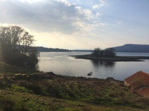 Abbot's Isle, Loch Etive, and the boathouse at Achnacloich, Argyll, Scotland.