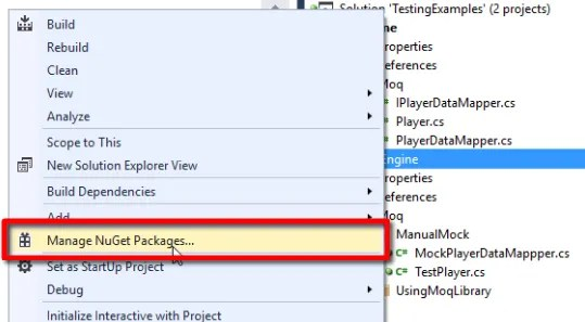 """Right-click on the unit tst project, and select """"Manage NuGet Packages..."""", to add Moq to the project"""