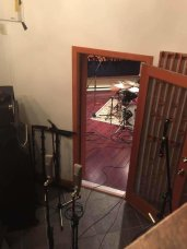 This is the studio where everything has been recorded for the new album, Echoplant B (formerly Vogville). Peek through the tall echo chamber room into the live room where you can see the drums set up for bedtracks - completed in one long day.