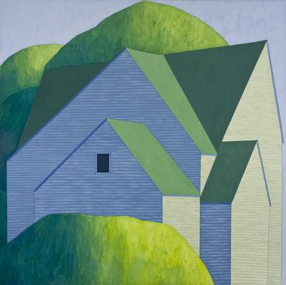 """Scott Redden, 'House in Trees,' 2008, oil on linen, 72"""" x 72"""""""