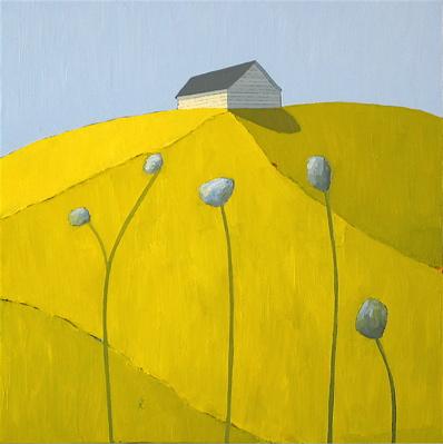 """Scott Redden, 'Big Blue Flowers,' 2009, oil on panel, 10"""" x 10"""""""