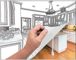 Hand revealing kitchen under plan image of kitchen post image