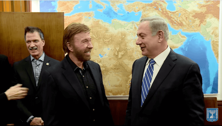 Body Language and Nonverbals of Chuck Norris Meeting Netanyahu In Israel